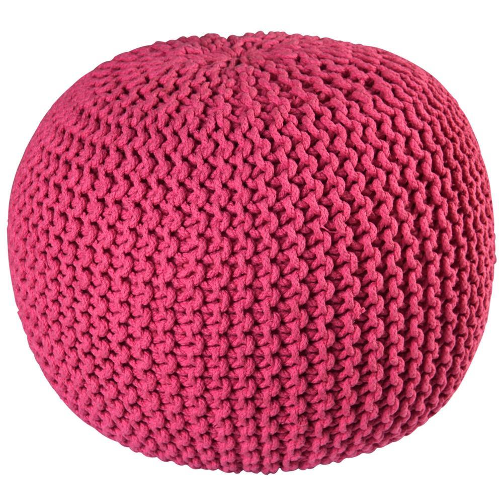 """St. Croix FCR1804 Pouf Ottoman 16"""" Pink Cotton Rope Pouf Ottoman"""