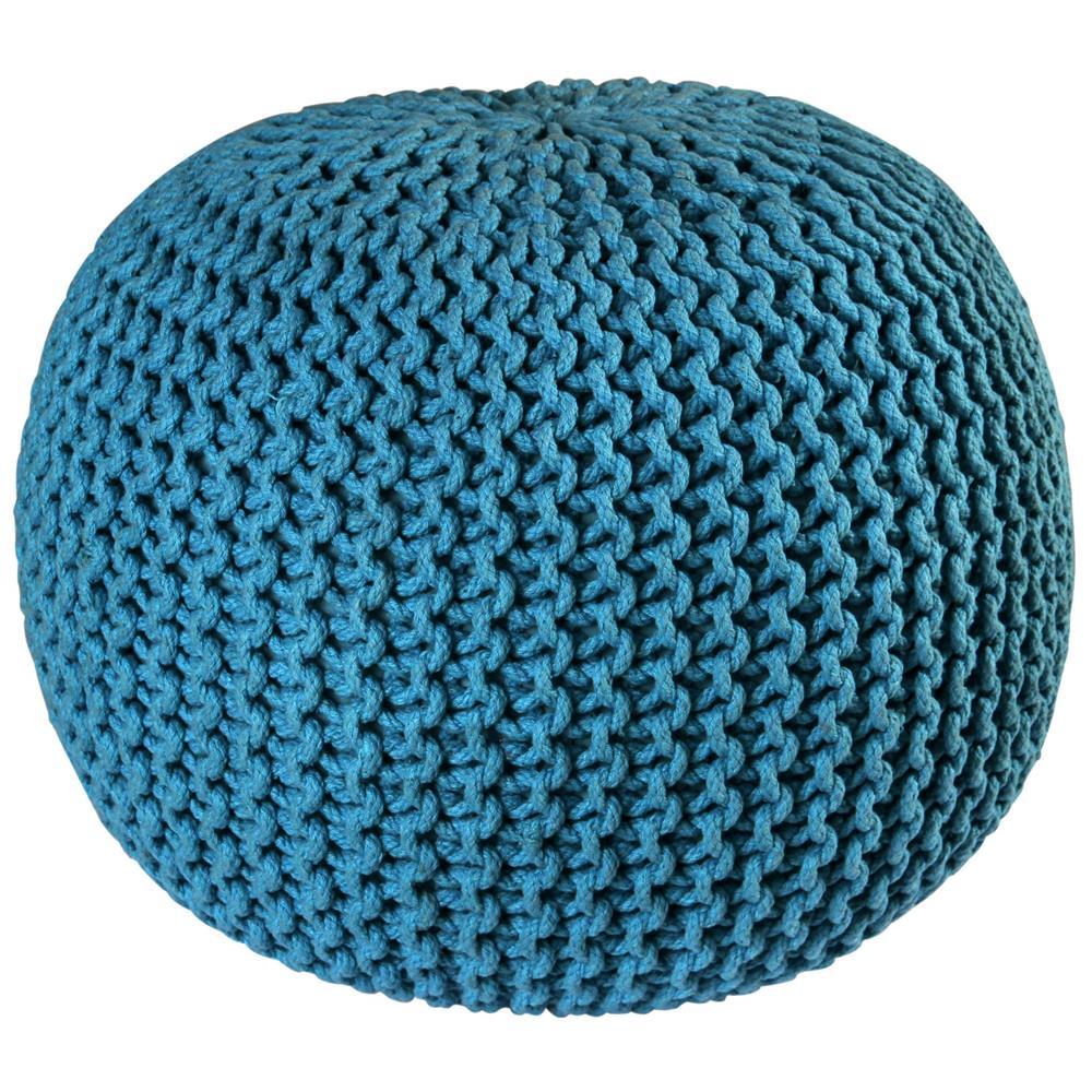 "St. Croix FCR1807 Pouf Ottoman 16"" Blue Cotton Rope Pouf Ottoman"