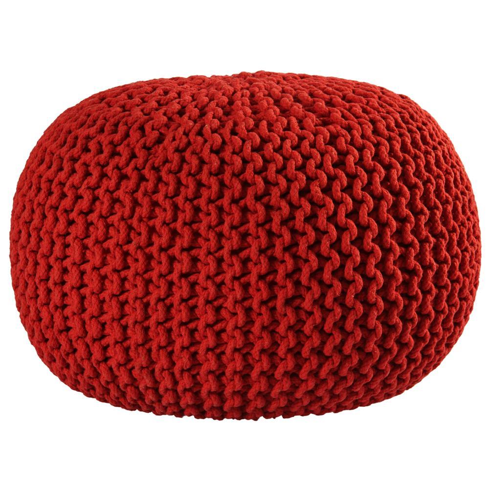 "St. Croix FCR1813 Pouf Ottoman 16"" Red Cotton Rope Pouf Ottoman"