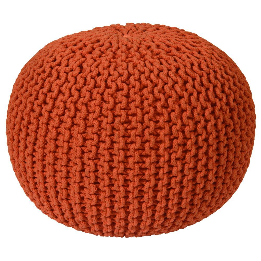 "St. Croix FCR1817 Pouf Ottoman 16"" Orange Cotton Rope Pouf Ottoman"