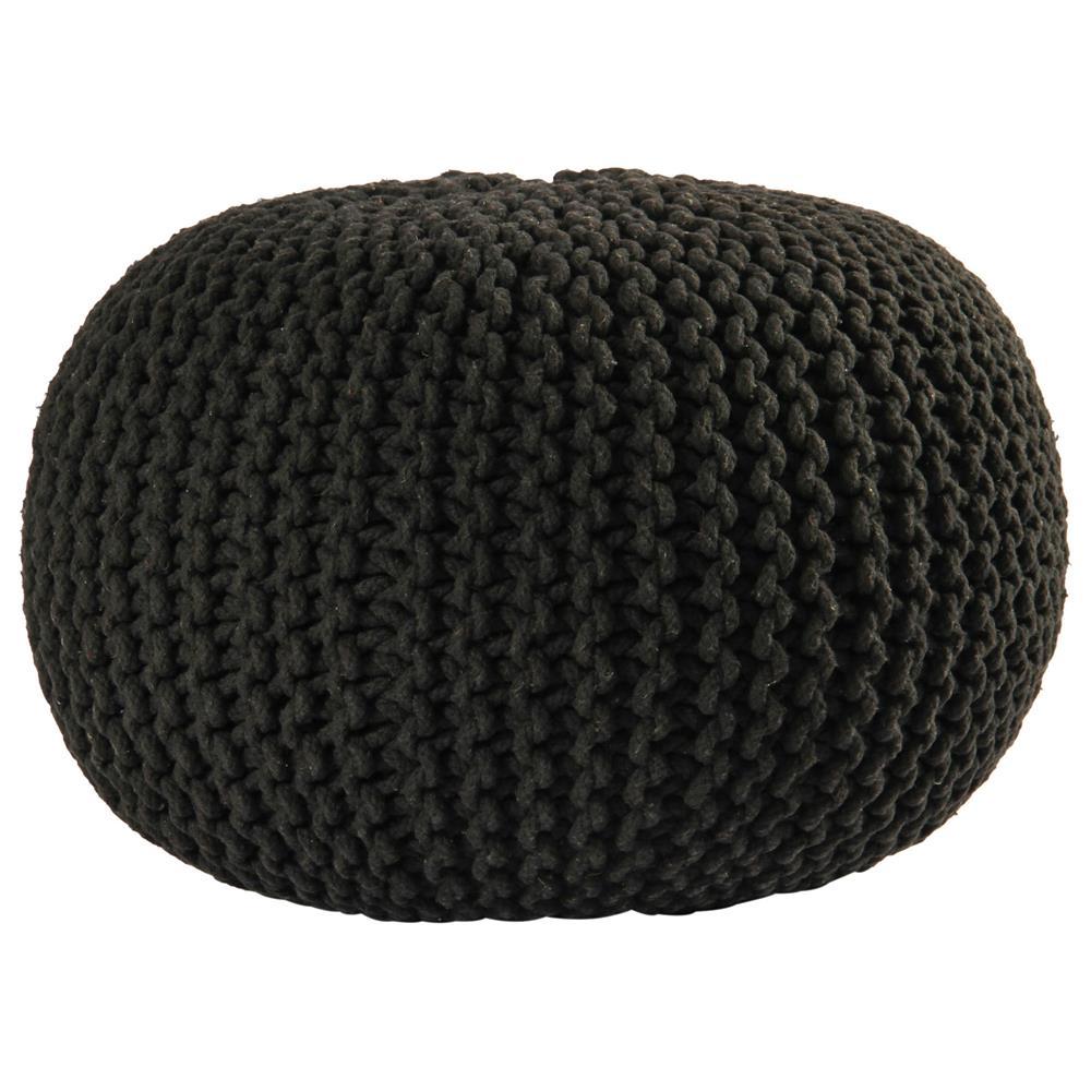 """St. Croix FCR1818 Pouf Ottoman 16"""" Black Cotton Rope Pouf Ottoman"""