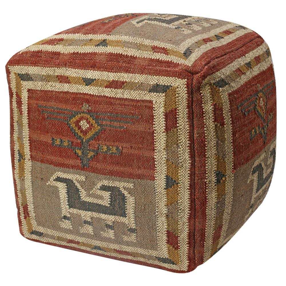"""St. Croix FWFW1912 Pouf Ottoman 24"""" Red Tribal Jute & Wool Pouf"""