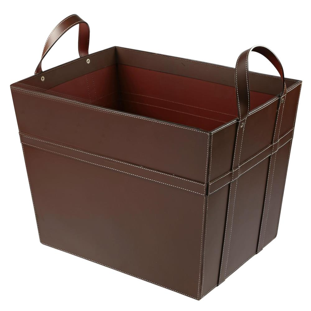 St. Croix A054 Brown Leather Magazine Basket with Handles