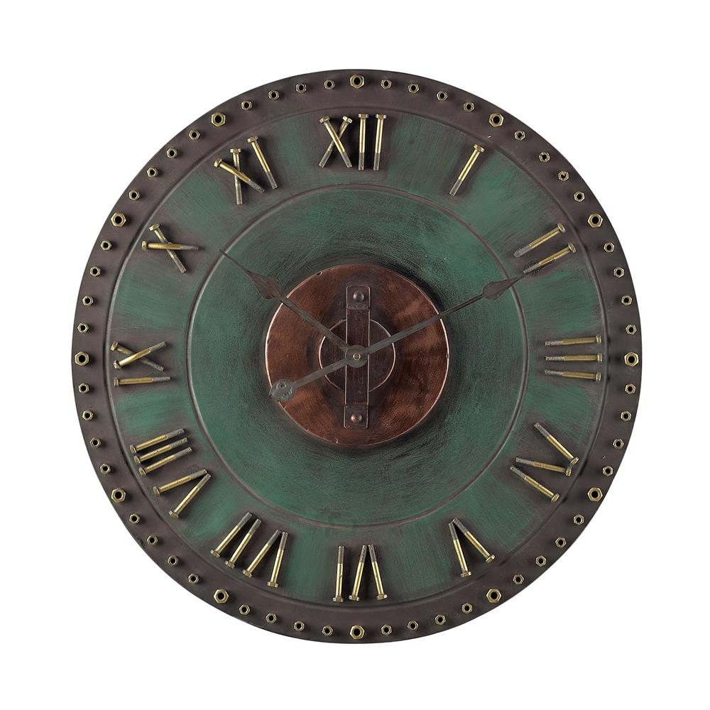 Sterling Industries 128-1004 Metal Roman Numeral Outdoor Wall Clock. In Marilia Verde With Gold