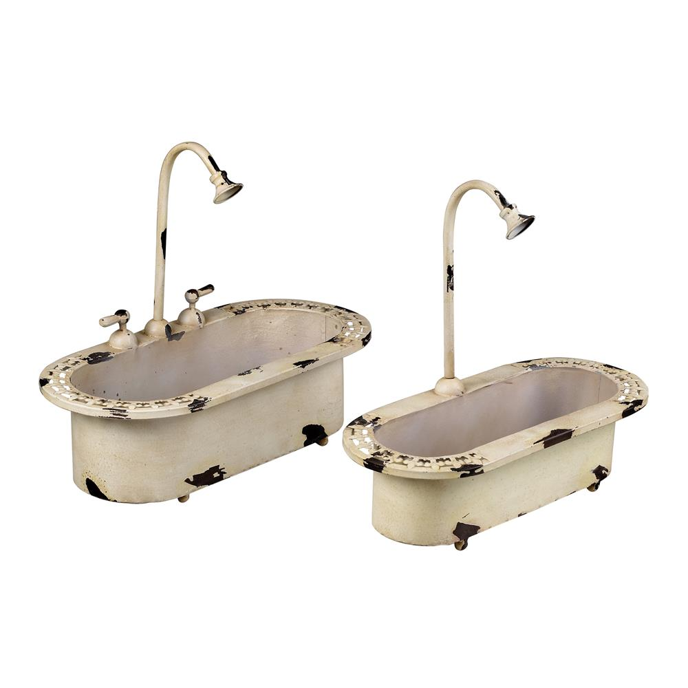 """Sterling Industries 128-1022/S2 Set Of 2 """"Sink"""" Planters In Distressed Country Cream"""