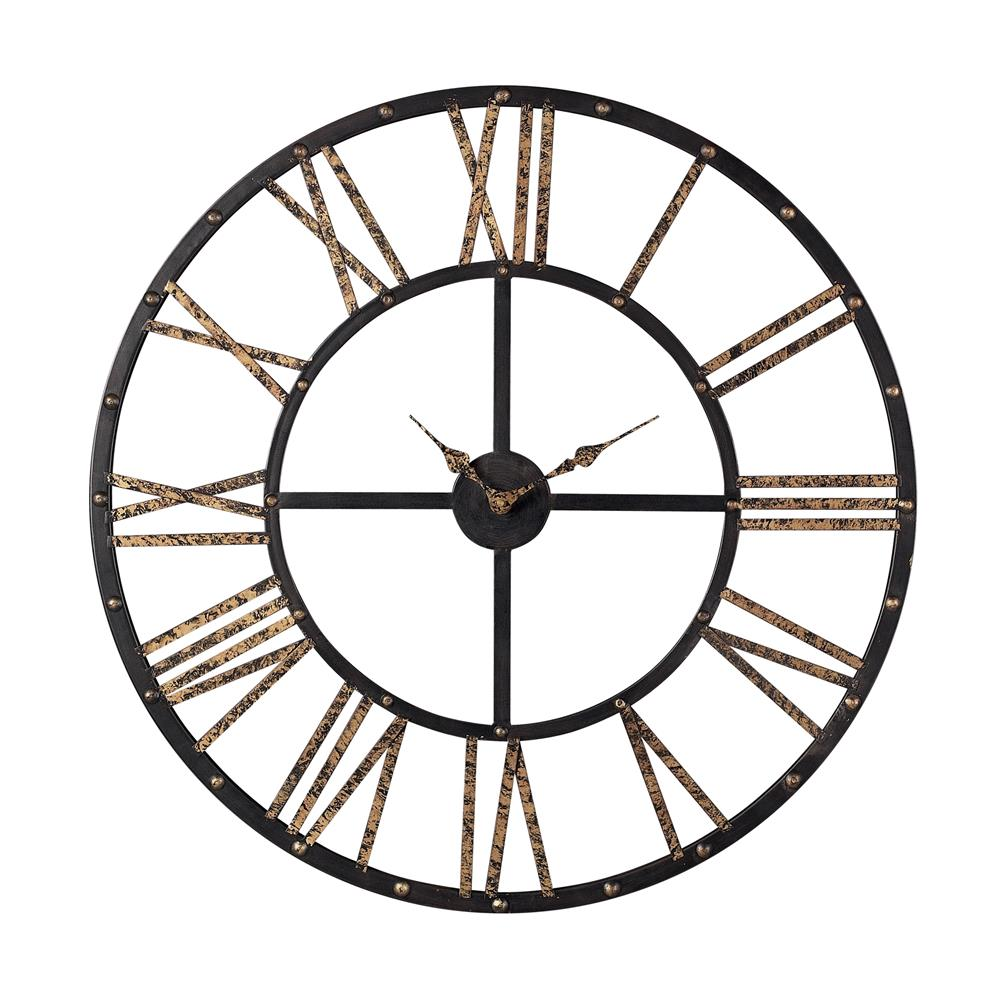 Sterling Industries 129-1024 Metal Framed Roman Numeral Open Back Wall Clock In Mombaca Black / Gold
