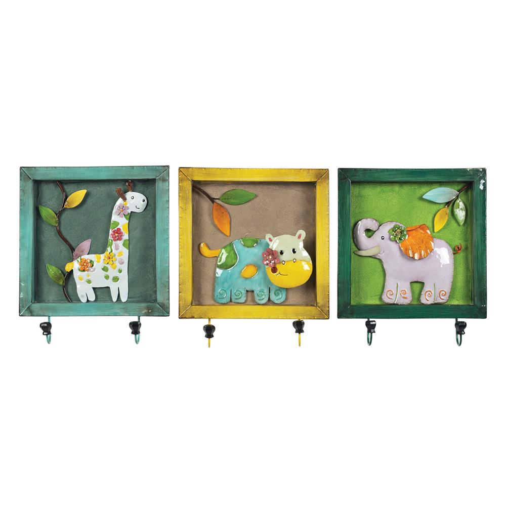 Sterling Industries 129-1075 Set Of 3 Animal Picture Hook In Impact Yellow / Teal / Green