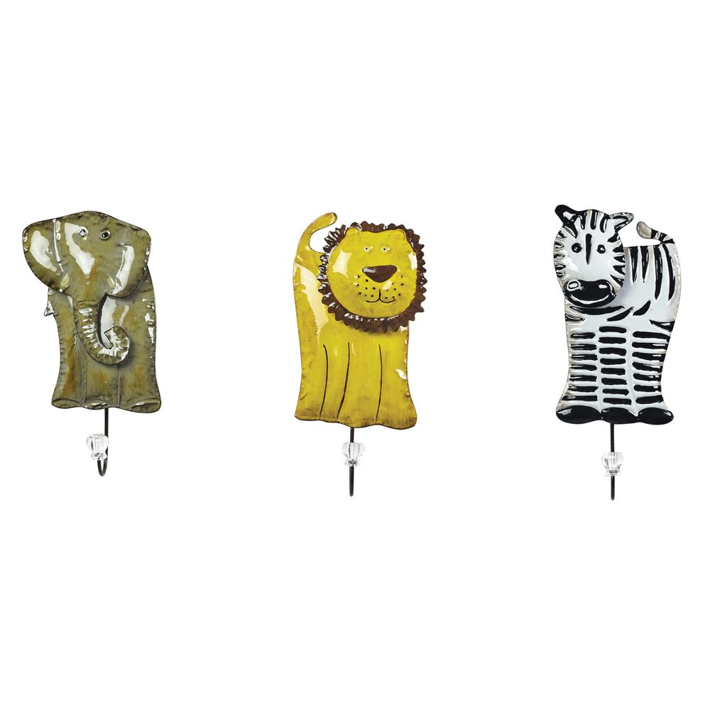 Sterling Industries 129-1076 Animal Hooks In Impact Black / White / Yellow / Stone