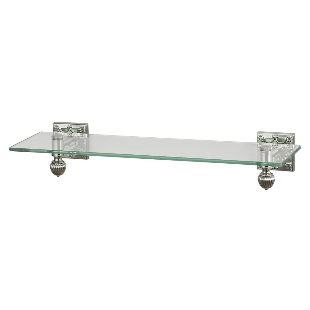 Sterling Industries 131-008 Glass Shelf With Brused Steel Accents And Embossed Back Plates In Brushed Steel