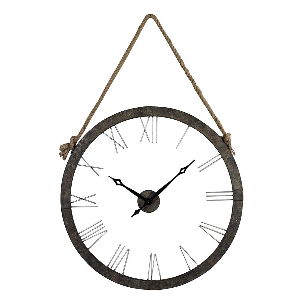 Sterling Industries 26-8643 Metal Wall Clock Hung On Rope In Rustic Iron/ Silver