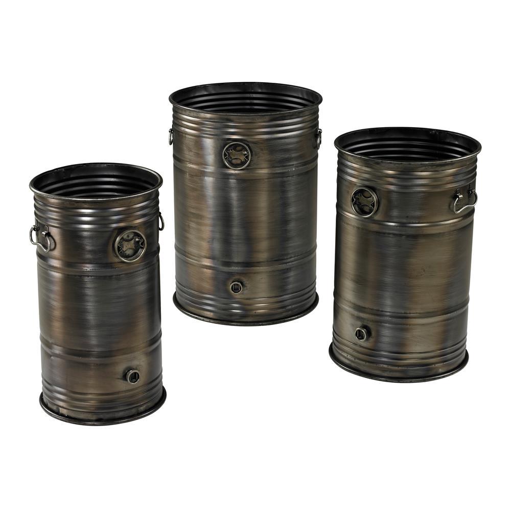 Sterling Industries 26-8668/S3 Set Of 3 Industrial Oil Drum Planters