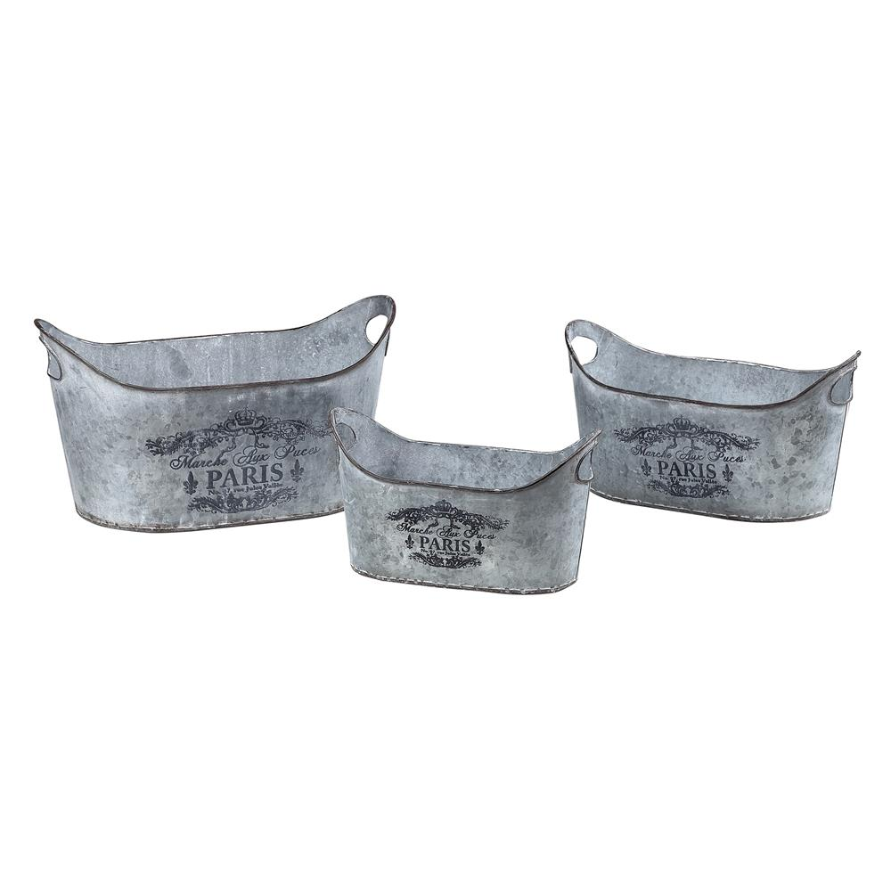 Sterling Industries 51-10015/S3 Set Of 3 Metal Planters With Parisian Print In Aluminium