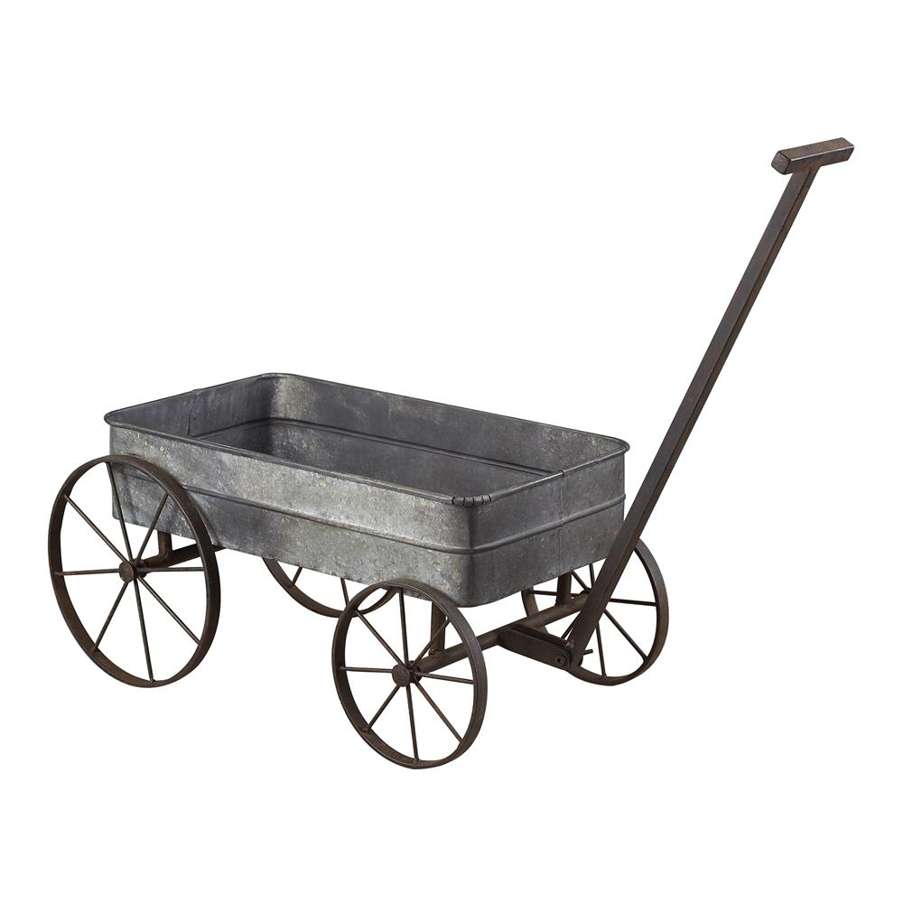 Sterling Industries 51-10016 Metal Cart Planter With Handle In Aluminium / Black