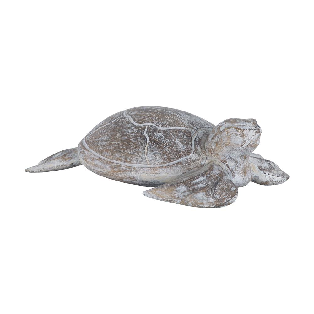 Sterling Industries 7159-045 Galapagos Turtle White Washed Albasia Wood