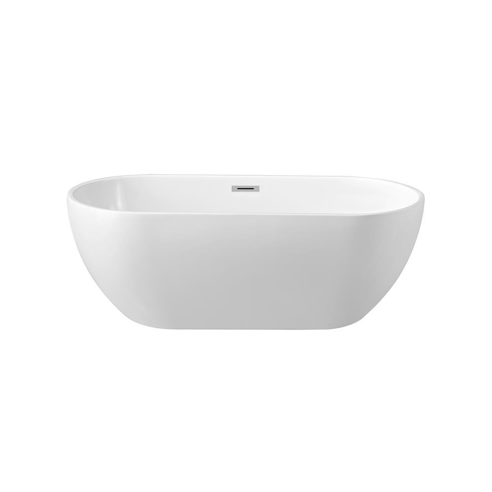 """Stremline Bath N-140-60FSWH-FM 59"""" Soaking Freestanding Tub With Internal Drain"""