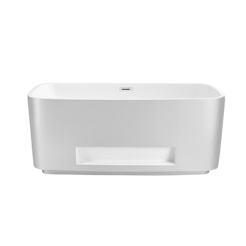 """Stremline Bath N-220-59FSWH-FM 59"""" Soaking Freestanding Tub With Internal Drain"""