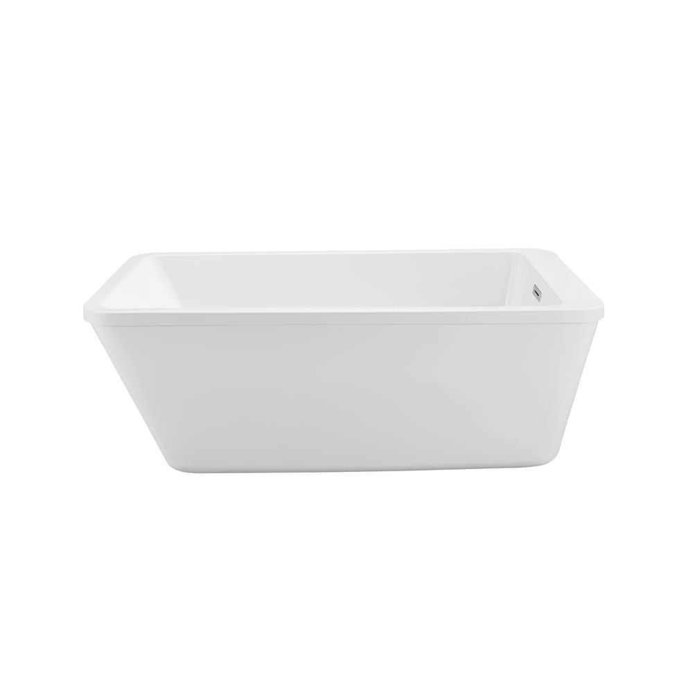 """Stremline Bath N-240-60FSWH-FM 60"""" Soaking Freestanding Tub With Internal Drain"""