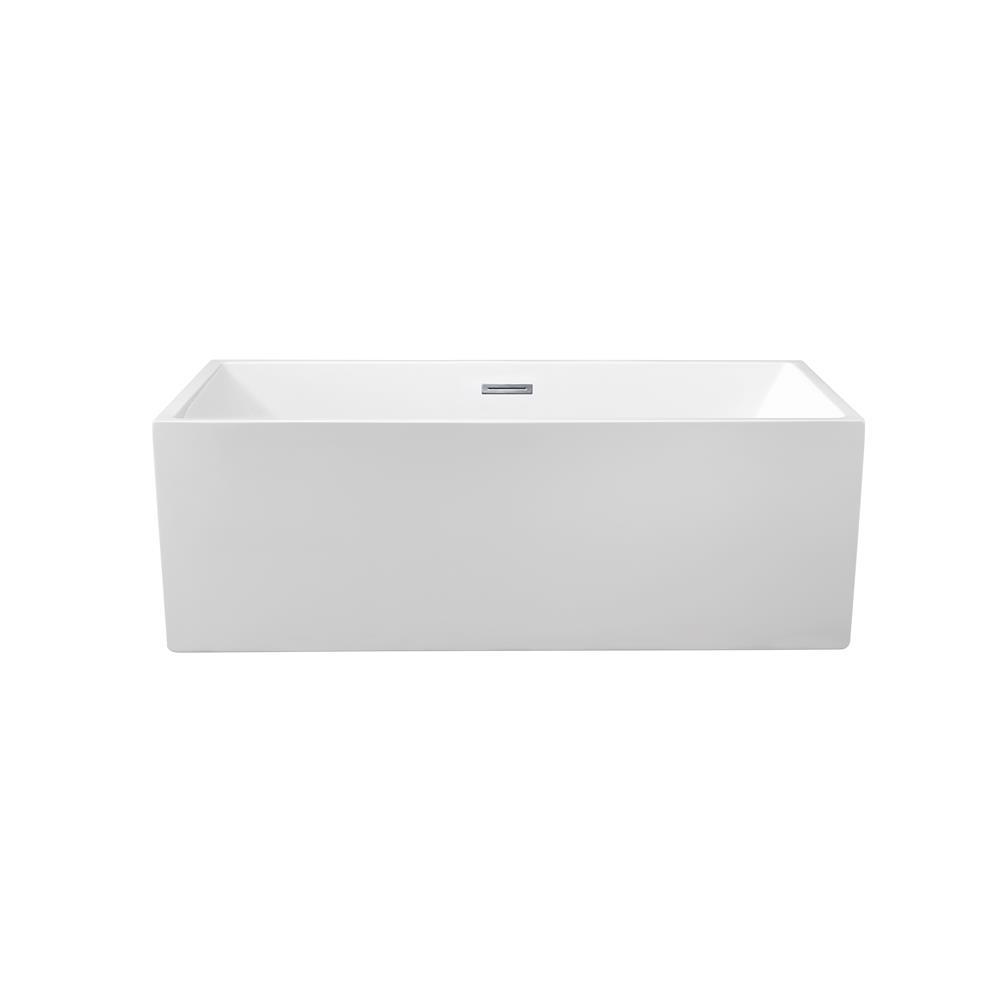 """Stremline Bath N-260-66FSWH-FM 66"""" Soaking Freestanding Tub With Internal Drain"""