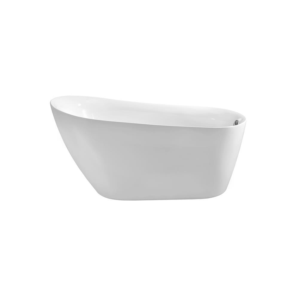 """Stremline Bath N-280-59FSWH-FM 59"""" Soaking Freestanding Tub With Internal Drain"""