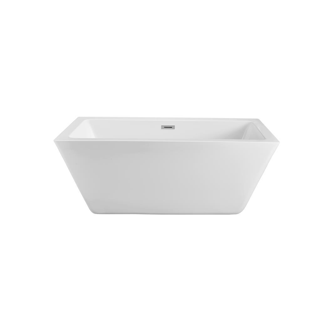"""Stremline Bath N-320-60FSWH-FM 60"""" Soaking Freestanding Tub With Internal Drain"""