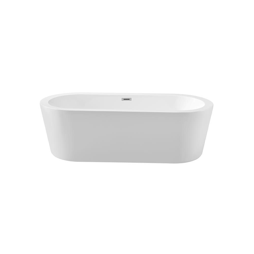 """Stremline Bath N-361-67FSWH-FM 67"""" Soaking Freestanding Tub With Internal Drain"""