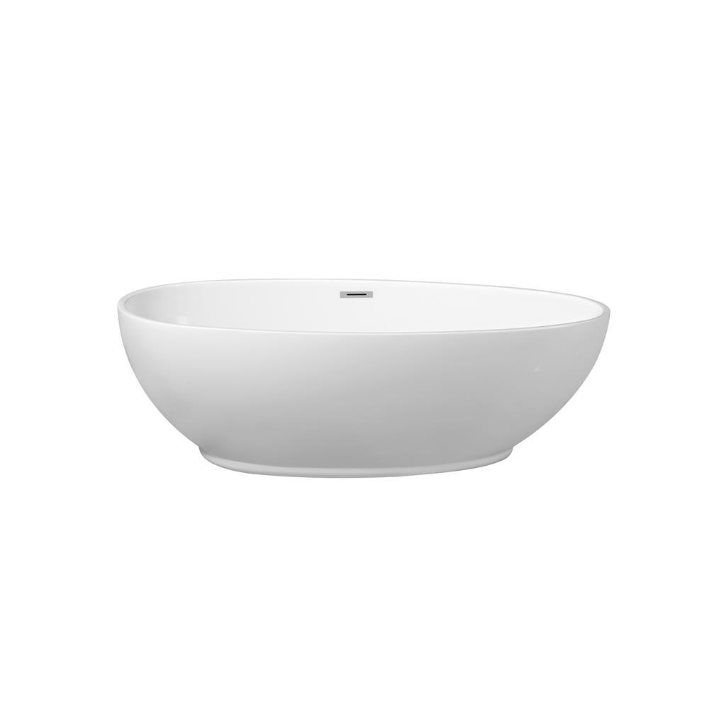 """Stremline Bath N-380-63FSWH-FM 63"""" Soaking Freestanding Tub With Internal Drain"""