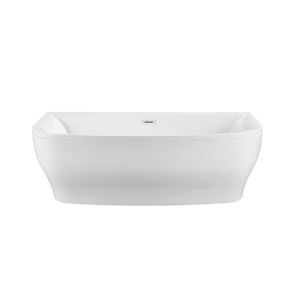 """Stremline Bath N-400-65FSWH-FM 65"""" Soaking Wall Adjacent Apron Tub With Internal Drain"""