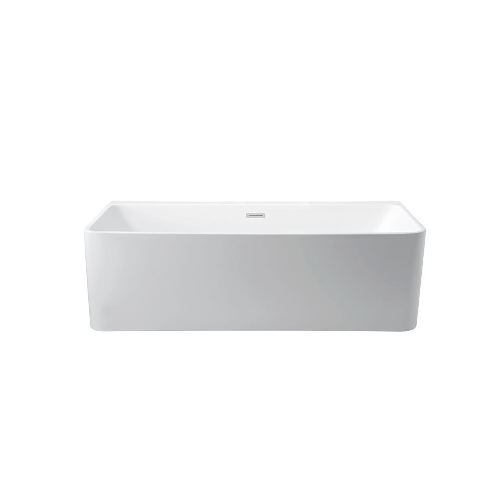 """Stremline Bath N-440-59FSWH-FM 59"""" Soaking Wall Adjacent Apron Tub With Internal Drain"""