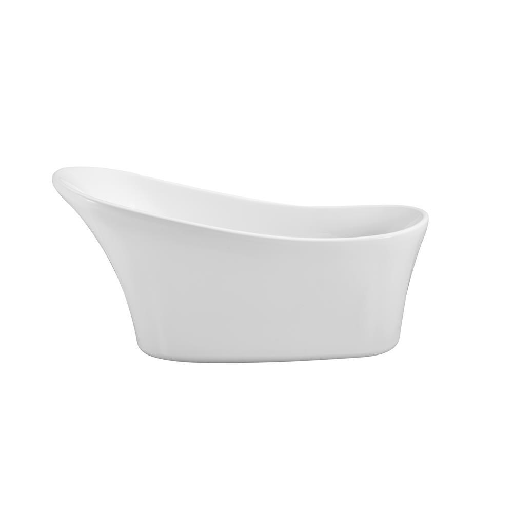 """Stremline Bath N-460-63FSWH-FM 63"""" Soaking Freestanding Tub With Internal Drain"""