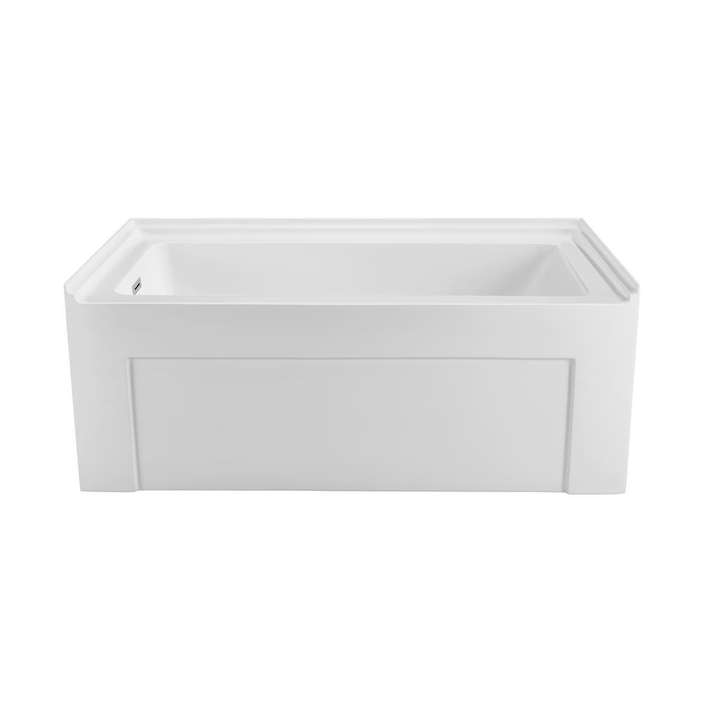 """Stremline Bath N-500-60ALWHLD-FM 60"""" Soaking Alcove Apron Tub With Internal Drain"""