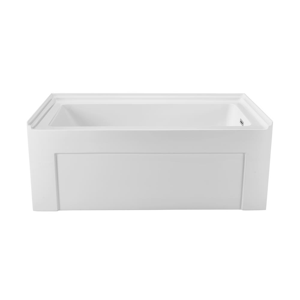 """Stremline Bath N-510-60ALWHRD-FM 60"""" Soaking Alcove Apron Tub With Internal Drain"""