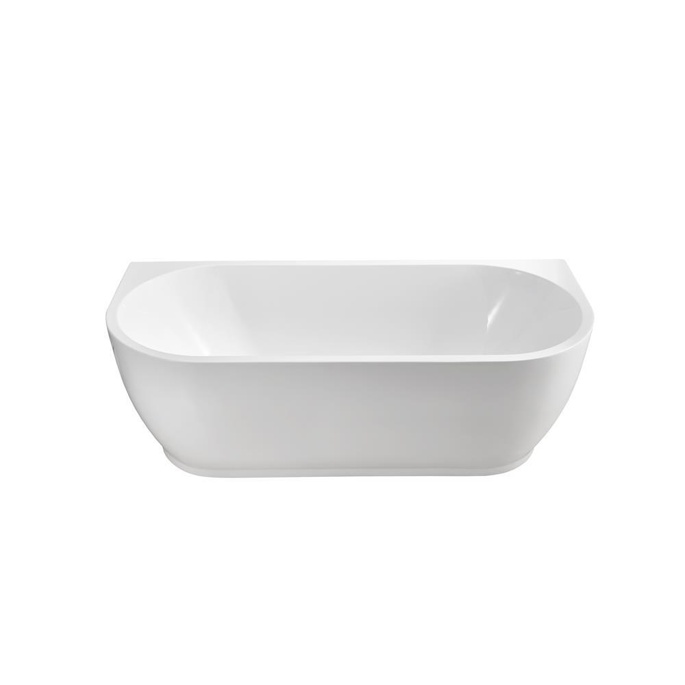 """Stremline Bath N-520-67FSWH-FM 67"""" Soaking Wall Adjacent Apron Tub With Internal Drain"""