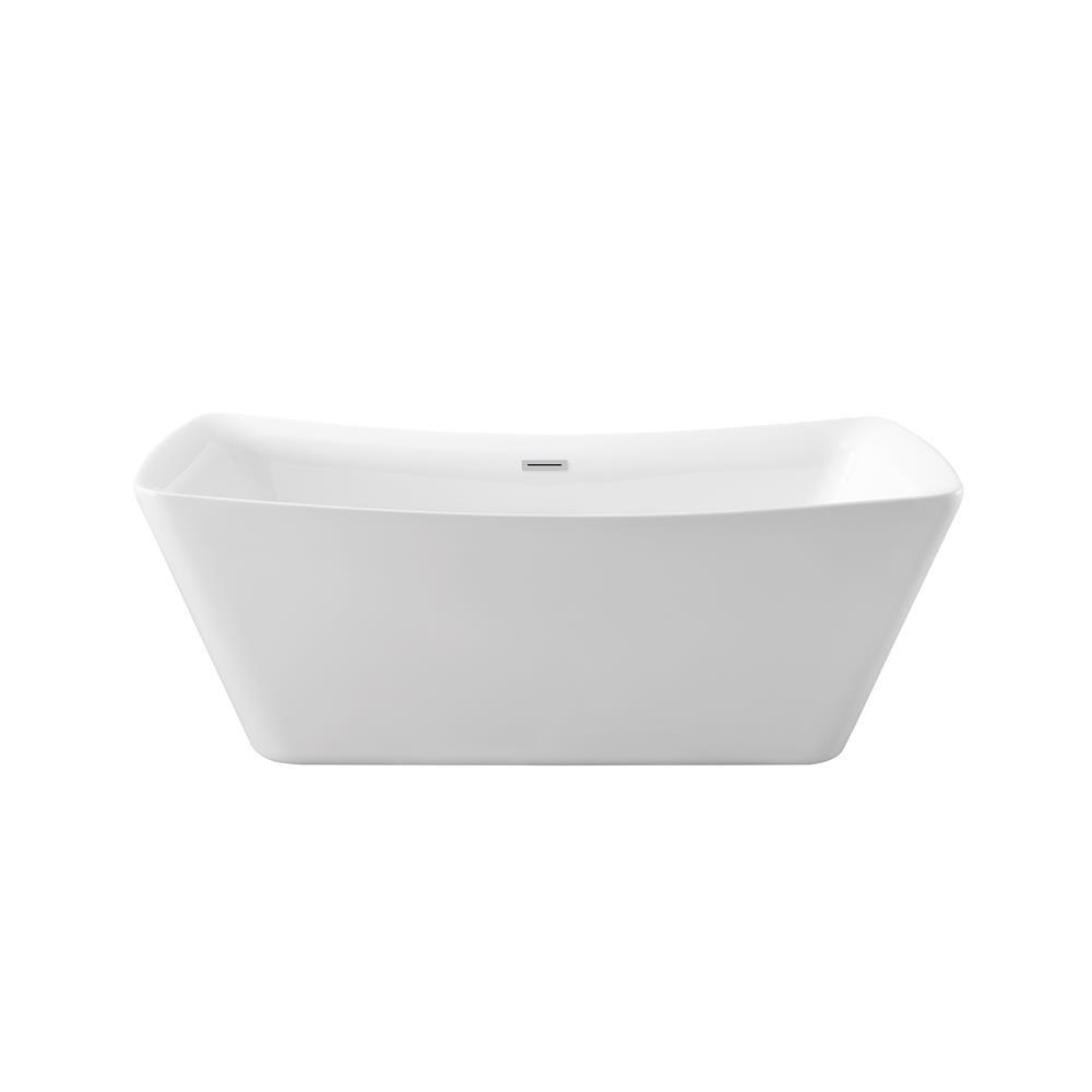 """Stremline Bath N-540-62FSWH-FM 62"""" Soaking Freestanding Tub With Internal Drain"""