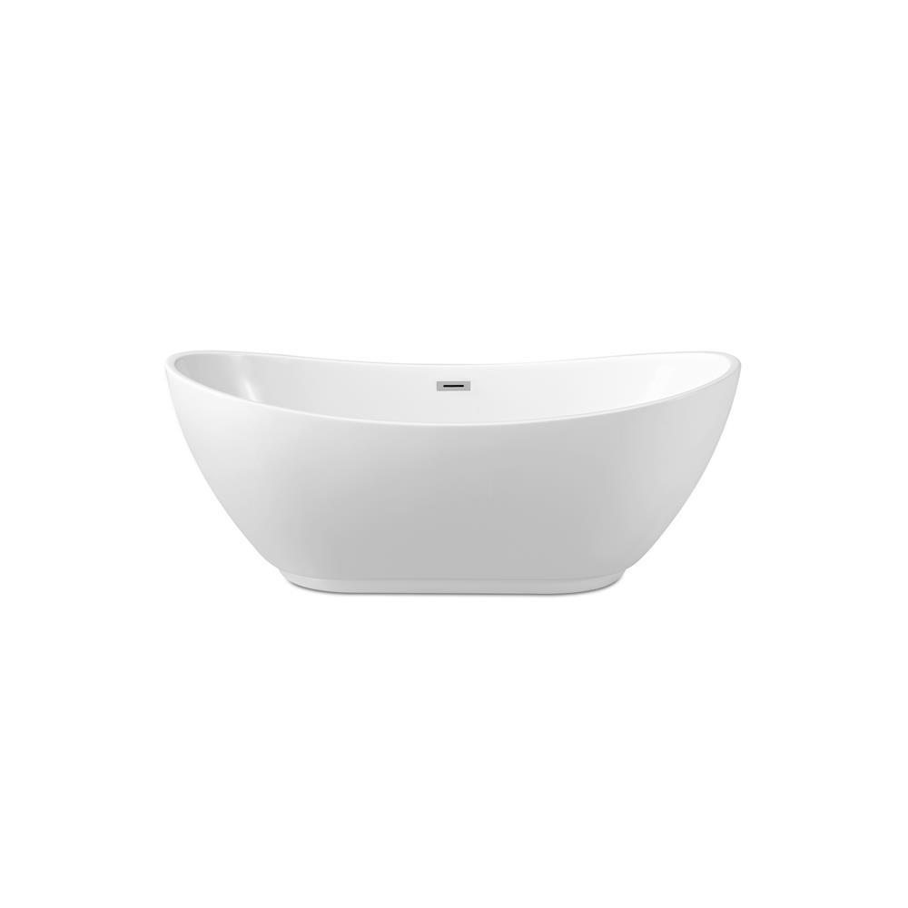 """Stremline Bath N-580-62FSWH-FM 62"""" Soaking Freestanding Tub With Internal Drain"""