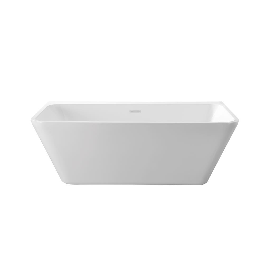 """Stremline Bath N-600-62FSWH-FM 63"""" Soaking Wall Adjacent Apron Tub With Internal Drain"""