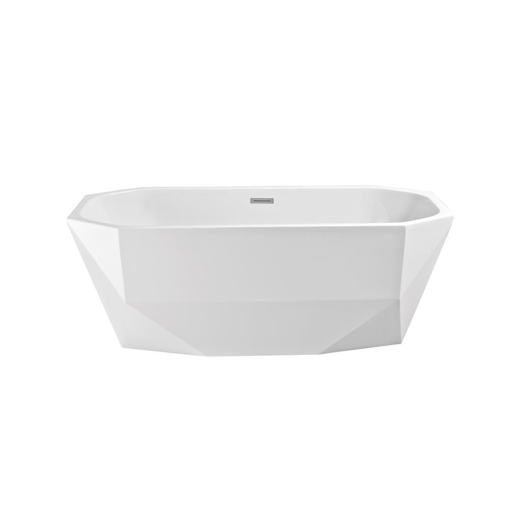 """Stremline Bath N-620-63FSWH-FM 63"""" Soaking Freestanding Tub With Internal Drain"""