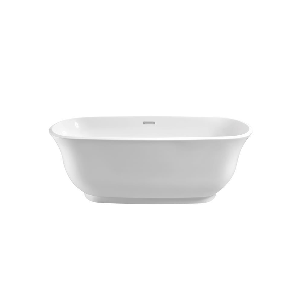 """Stremline Bath N-660-59FSWH-FM 59"""" Soaking Freestanding Tub With Internal Drain"""