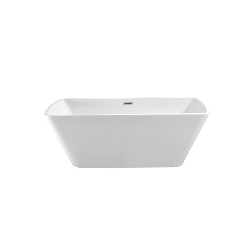 """Stremline Bath N-680-59FSWH-FM 59"""" Soaking Freestanding Tub With Internal Drain"""
