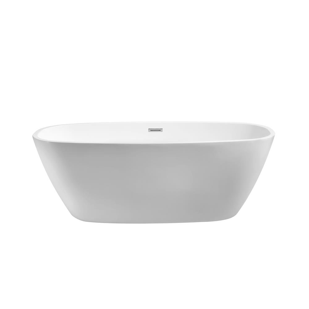 """Stremline Bath N-700-59FSWH-FM 59"""" Soaking Freestanding Tub With Internal Drain"""