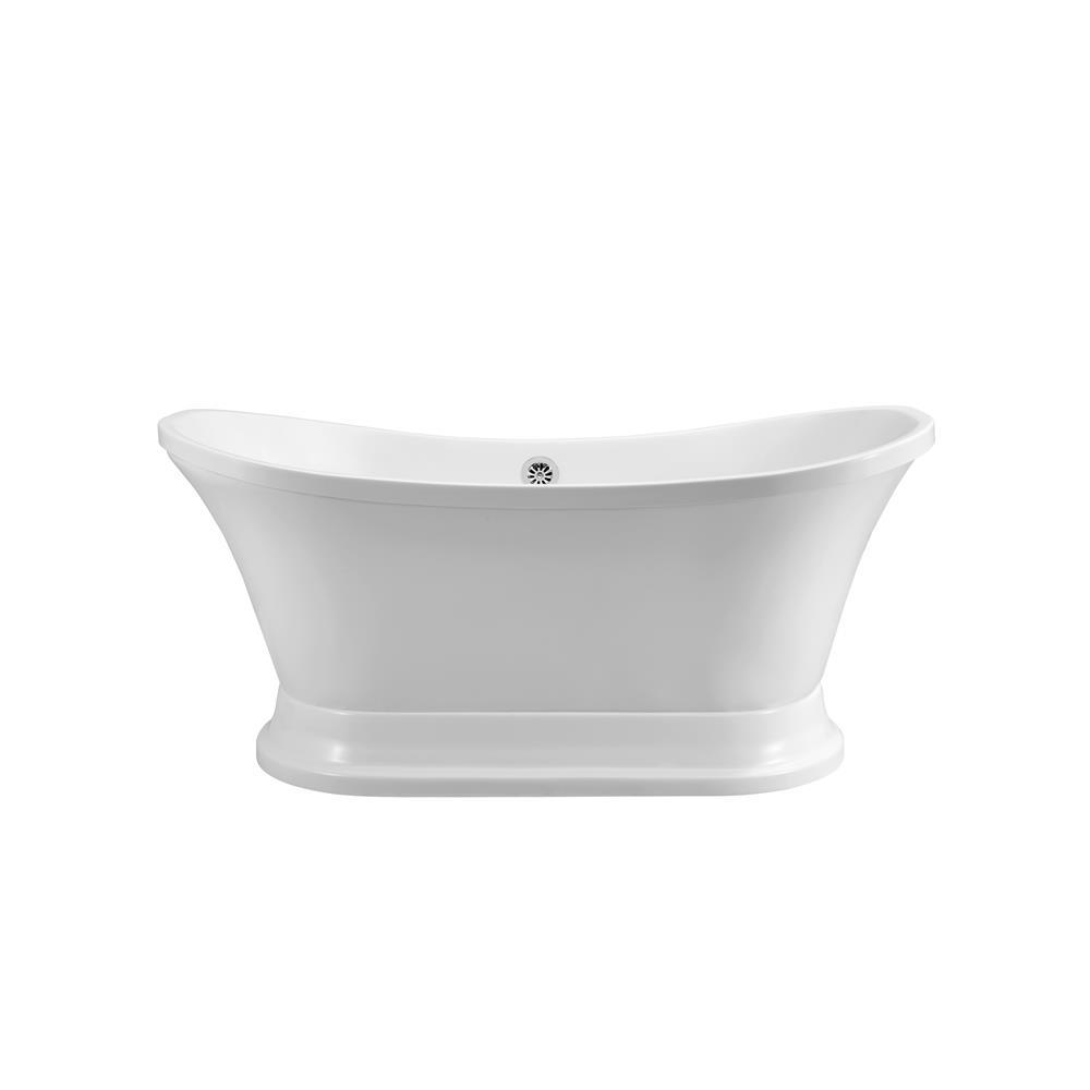 "Stremline Bath N200CH 60"" Soaking Freestanding Tub With External Drain"