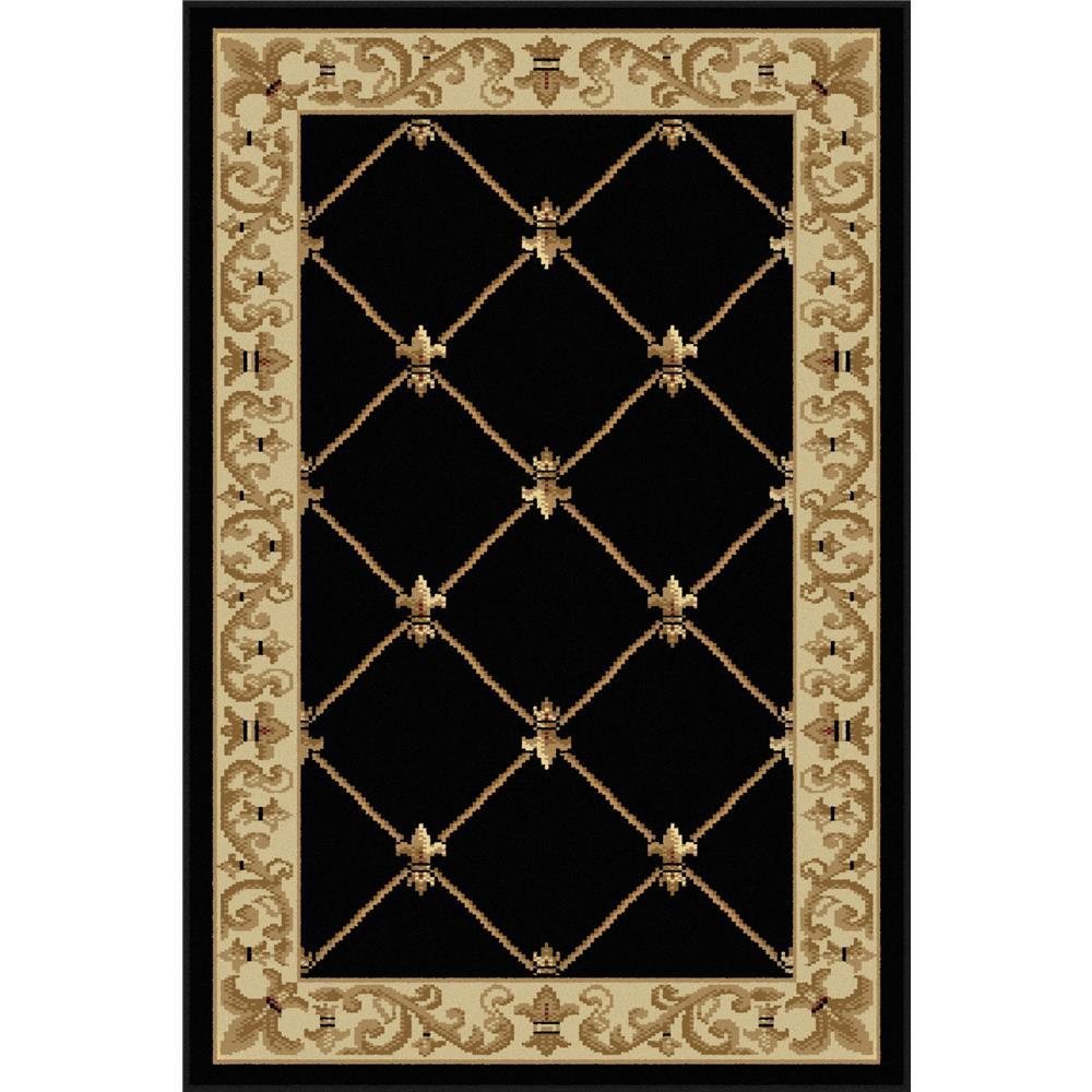 Tayse 4883  Black  2x3 Sensation Orleans Black 2 ft. x 3 ft. Traditional Area Rug