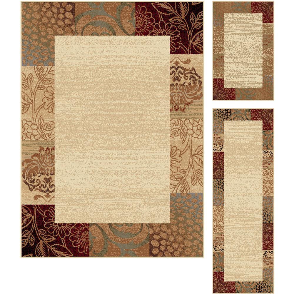 Tayse 5202  Ivory  3 Pc. Set Elegance Sedona Beige Transitional Area Rug 3 pc. Set