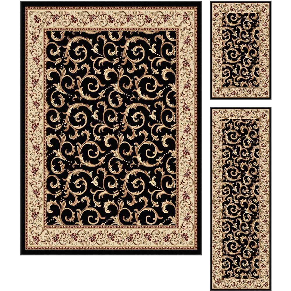 Tayse 5403  Black  3 Pc. Set Elegance Westminster Black 3 Piece Rug Set Transitional Area Rug