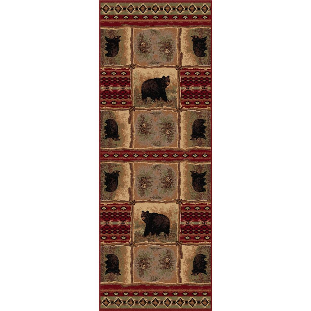 Tayse 6570  Red  3x8 Nature Sierra Bear Red 2 ft. 7 in. x 7 ft. 3 in. Lodge Runner