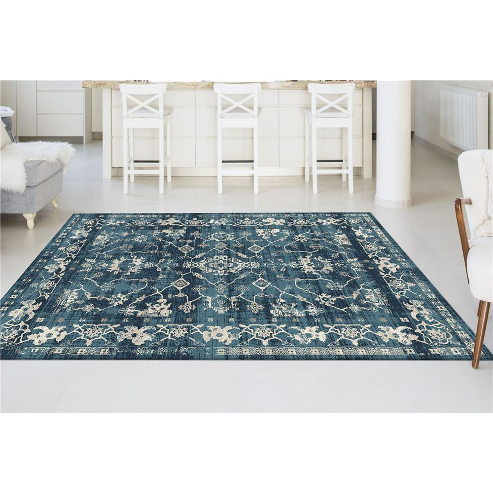 Tayse CNC1006  Blue  5x8 Concept Rachel Blue 5 ft. 3 in. x 7 ft. 3 in. Transitional Area Rug