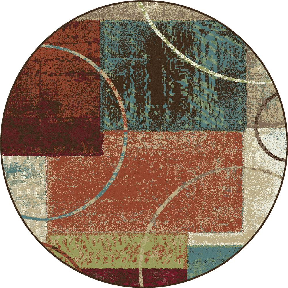 Tayse DCO1004 6RND Deco Conner Multi 5 ft. 3 in. Round Contemporary Area Rug