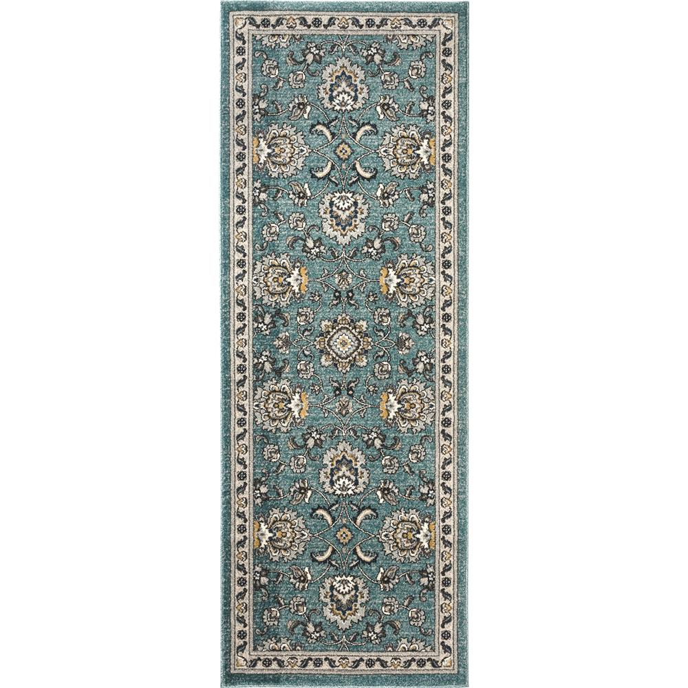 Tayse Kensington KNS1119 Aqua 2 ft. 7 in. x 7 ft. 3 in. Traditional Area Rug
