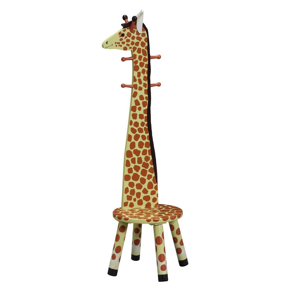 Teamson Kids W-1945G Safari Stool w/Coat Rack - Giraffe