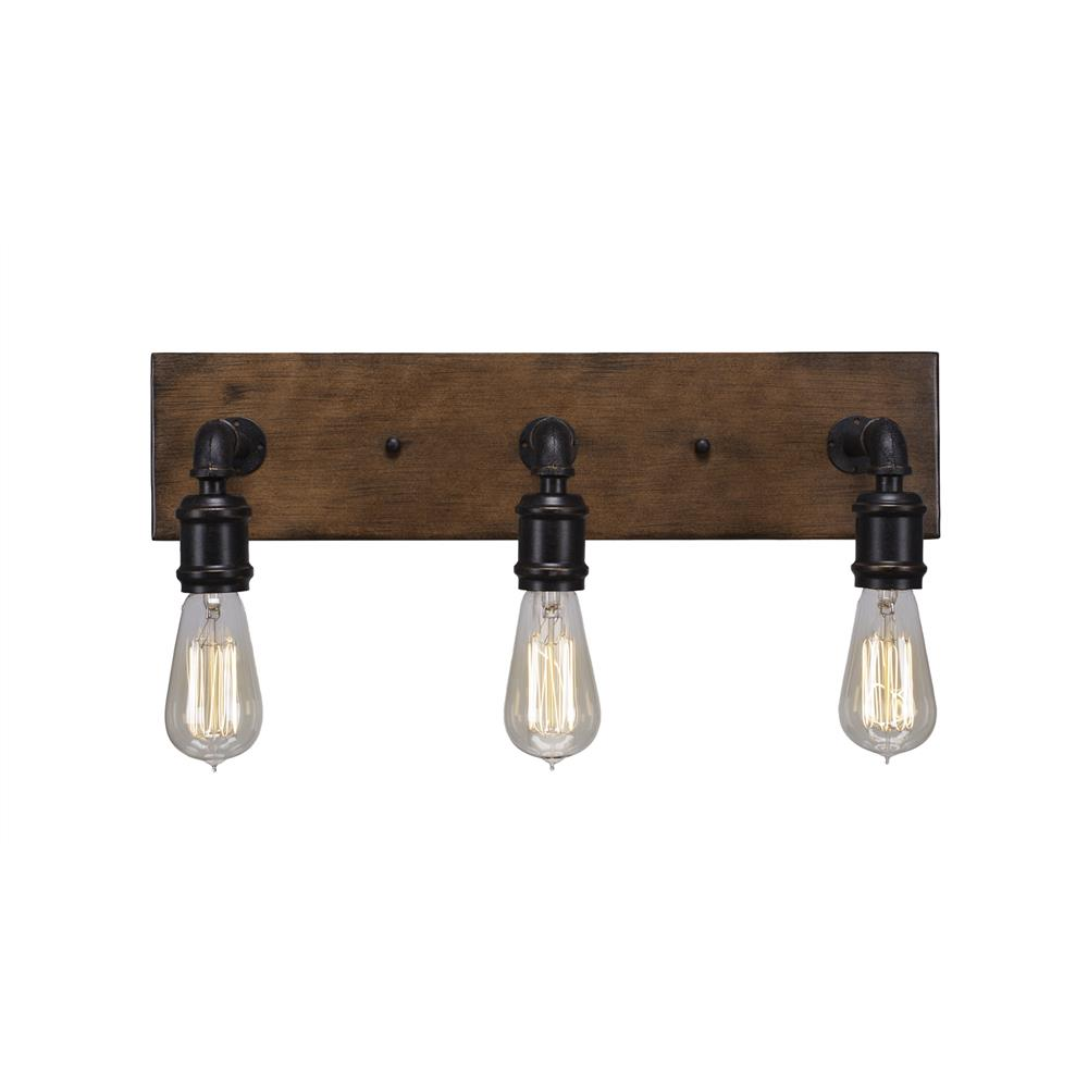 1133 At18 Toltec Lighting 1133 At18 Portland 3 Light Bath Bar With Amber Antique Bulbs