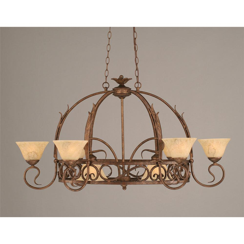 Toltec Lighting 216-BRZ-508 Bronze Finish 8 Light Pot Rack With 8 Hooks With 7 in. Italian Marble Glass, Pots Not Included